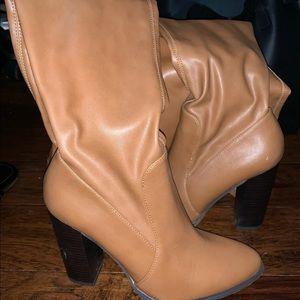 Tan High Knee Boots